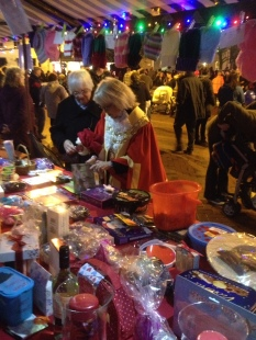 Mayor of Ely at our stall at the Ely Christmas Light Switch On